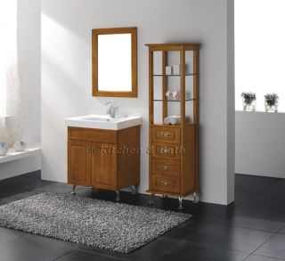Luxury Bathroom Oak Vanity with Mirror Cabinet Faucet