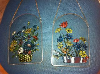 Reverse Floral Painting On Glass with Beautiful pewter Frame about