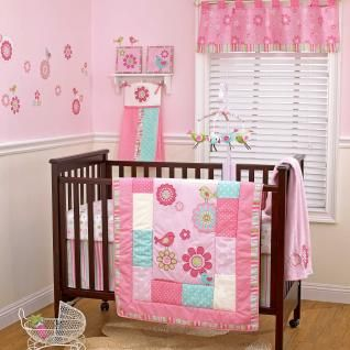 Pink Flower Baby Girl Cheap Discount Nursery 4pc Crib Bedding Set