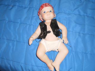 PORCELAIN FHD BABY BOY DOLL HARLEY DAVIDSON BIKER THEME BLACK LEATHER