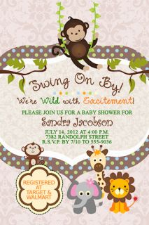 Polka Dots Elephant Lion Giraffe Jungle Baby Shower Invitations