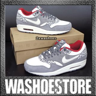Wmns Air Max 1 Leopard White Red Charcoal Atomos 319986 099 US 5.5~12