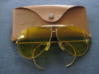 VINTAGE RAY BAN aviator SHOOTER YELLOW sunglasses 12k gold filled