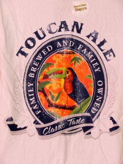 St Johns Bay T Shirt Toucan Ale Family Brew Distress S
