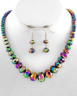 vintage aurora borealis glass crystal necklace earrings set