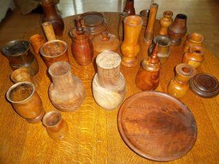 Collection of Exotic Wood Vases by Santa Barbara Artist R D John