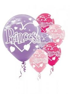 Princess Birthday Party Favor Printed Latex 12 inch Balloons 6 Ct