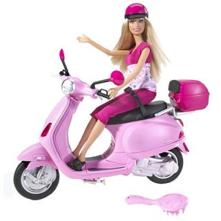 NIB Barbie Doll with sporty and stylish Vespa scooter in Pink