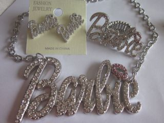 Iced Out Nicki Minaj Barbie Necklace Earrings and Ring