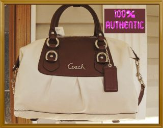ASHLEY WHITE / BARK BROWN LEATHER SATCHEL Shoulder Bag BEAUTIFUL Purse