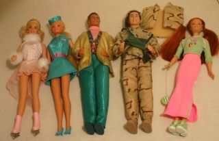 Lot 5 Gently Used Barbie Ken Dolls Tour Guide Toy Story Marine Skater