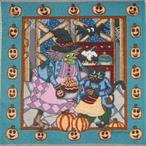 Halloween Witch Cat Tapestry Panel Fabric Unfinished