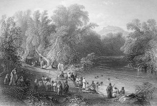 Land River Jordan Greek Bathing Place Bartlett Antique Print
