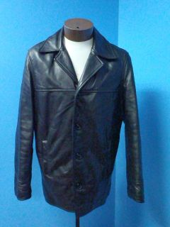51642 Rudsak Heavy Classic Black Casual Leather Men Coat Jacket Sz L