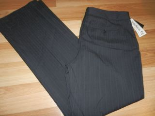 New Womens Attention Black Pinstripe Dress Pants Flat Front Stretch