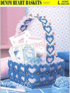 Denim Heart Basket Annies Plastic Canvas Pattern