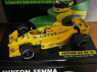 1987 Lotus Honda 99T Ayrton Senna Da Silva Minichamps 1 43