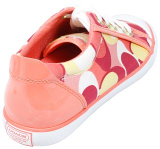 Coach Barrett Sneakers Coral Pink Op Art Tennis Womens Shoes 8 New