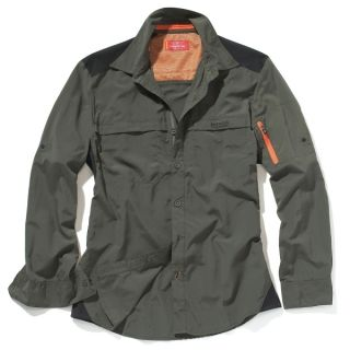 Bear Grylls Expedition Trek Long Sleeved Shirt in Dark Khaki Black M