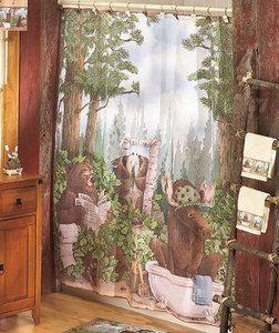 BATHROOM BROWN BEAR MOOSE TREE LEAVES FABRIC SHOWER CURTAIN COUNTRY