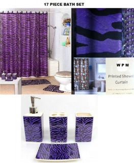 17 Piece Bath Accessory Set Purple Zebra Print Shower Curtain Bathroom