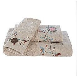 Croscill Stockbridge Floral Bird Emboridered Bath Hand or Tip Towel