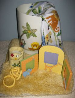 KIDS JUNGLE SAFARI SHOWER CURTAIN RUG CUP HOLDER PICTURE WASTECAN BATH