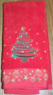Tree Hand Towels Cotton Red Green Gold Star Scrolls Swirl Holiday Bath