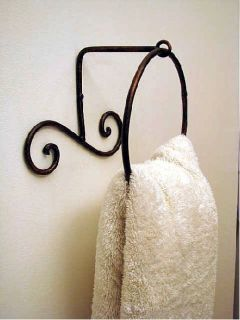Wrought Iron Metal Bathroom Bath Towel Ring Holder Wall Decor