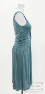 Moschino Cheap Chic Teal Silk Gathered Dress Size 8 New