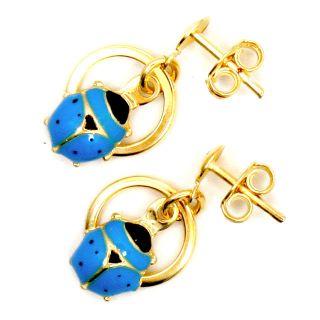 GF Baby Girl Childs Kids Blue Turquoise Lady Bug Hoop Earrings