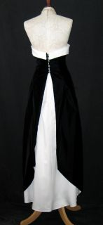 McClintock Black Ivory Satin Velvet Rhinestone Dress Gown Size 4