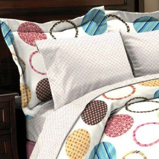 Reversible Twin Bed in A Bag Circles Stripes Polka Dots Bedding