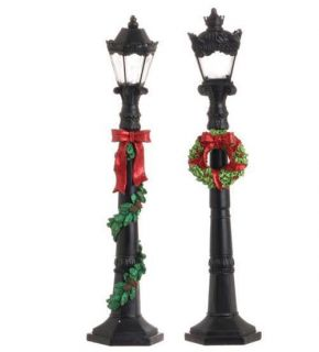 Set of Two 19 Battery Operated Dickens Christmas Street Lamp Post RAZ