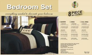 New Bed in A Bag Brown Beige Black Milano Comforter Set