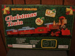 EZTEC 29PC CHRISTMAS TRAIN PLAY SET BATTERY OPERATED OVER 11 FT OF