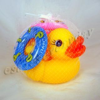 Funny Squeak Baby Bath Toy Rubber Race Ducks Lifebelt
