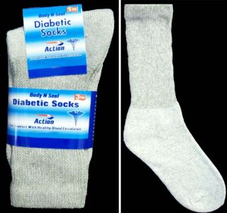 New Wholesale Lot 6 Pairs Diabetic Socks for Adults Grey Color