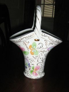 Baum Brothers Formalities Porcelain Basket Vase Butterfly Designs