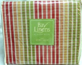 NIP $120 BAY LINENS ALICIA EUROPEAN PILLOW SHAMS STRIPED (2)
