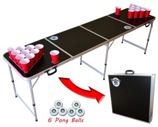 Black Portable Beer Pong Table 8 Feet Ships Same Day from USA