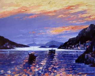 Howard Behrens Amalfi Sunset Embellished Giclee on Canvas Italy Only 1
