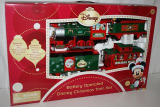 DISNEY MICKEY MOUSE BATTERY OPERATED HOLIDAY TRAIN SET; PLAYS