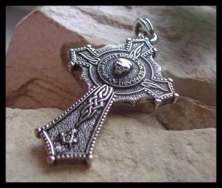 AJS © Masonic Skull Mason Pendant Cross Knights Templar Double Sided