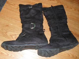 EC $59 Womens Street Feet Kindy Black Suede Fashion Winter Boots Sz 7