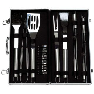 22 Piece Solid Stainless Steel Barbecue Grilling Utensil Set w