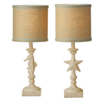 nautical beach cottage chic style decor buffet accent table desk lamps