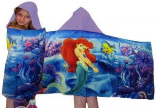 Ariel Little Mermaid Girls Kids Hooded Beach Pool Bath Towel