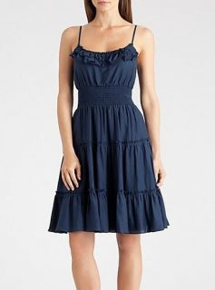 New Marciano Guess Bayliss Peasant Tiered Dress Ruffle Top Navy XS s M