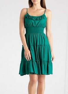 New Marciano Guess Bayliss Peasant Tiered Dress Ruffle Top Green XS S